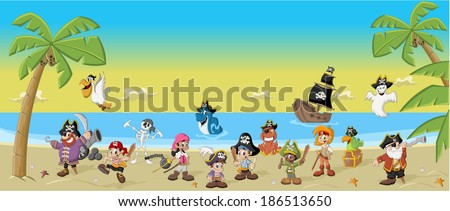 Group of cartoon pirates with funny animals on a beautiful tropical beach - stock vector