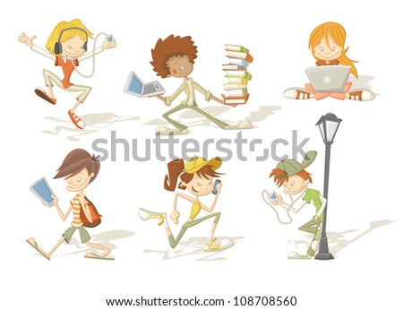 Group of cartoon teenager students with mp3 players, tablets and cellphones - stock vector