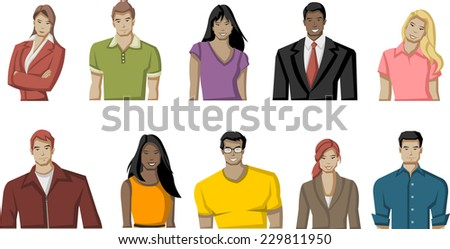 Group of cartoon young people - stock vector