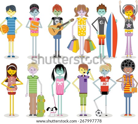 Group of cartoon young people. Colorful teenagers. - stock vector