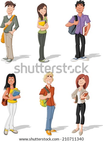 Group of cartoon young students. Teenagers.  - stock vector