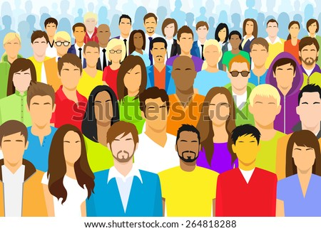 Group of Casual People Face Big Crowd Diverse Ethnic Vector illustration - stock vector