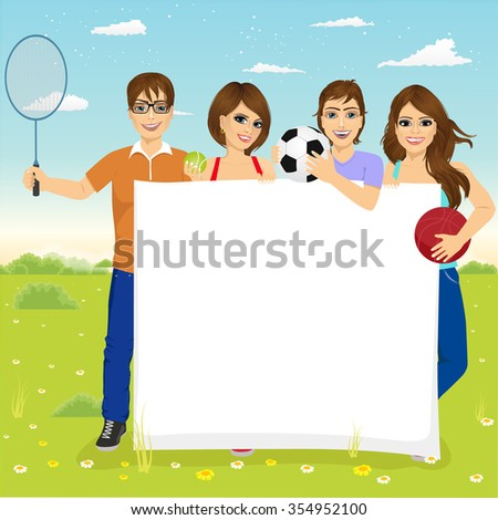 group of caucasian young students with different sports equipment holding a blank board woth copyspace for text - stock vector