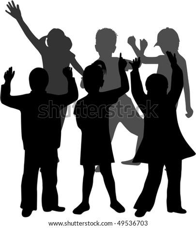 group of children - stock vector