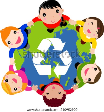 Group of children and globe - stock vector