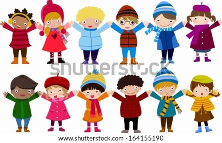 Group of children and winter - stock vector