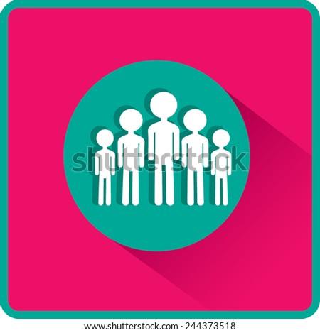Group of children. Flat vector icon. - stock vector
