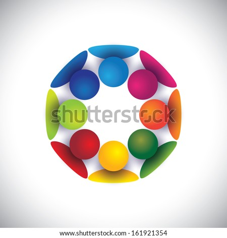 Group of children playing in circle or people community vector. The graphic can also represent concepts like employees unity, workers union, executives meeting, friendship, team work and team spirit - stock vector