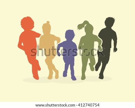 Group of children running, Front view graphic vector.