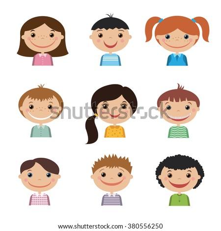 Group of children set - stock vector