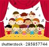 Group of children singing - stock vector