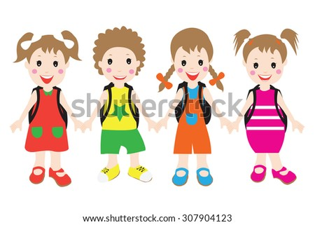 Group of children students.flat design, Vector cartoon illustration.