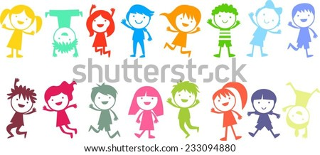 Group of color children - stock vector