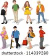 Group of colorful cartoon children. Teenagers. - stock photo