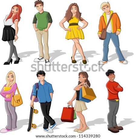 Group of colorful cartoon children. Teenagers.