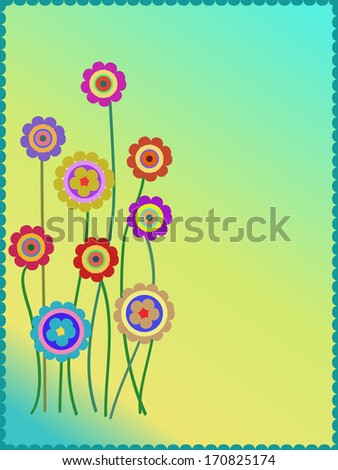 group of colorful flowers background - stock vector