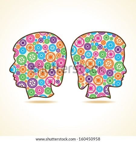 Group of colorful gears make a male and female face stock vector - stock vector
