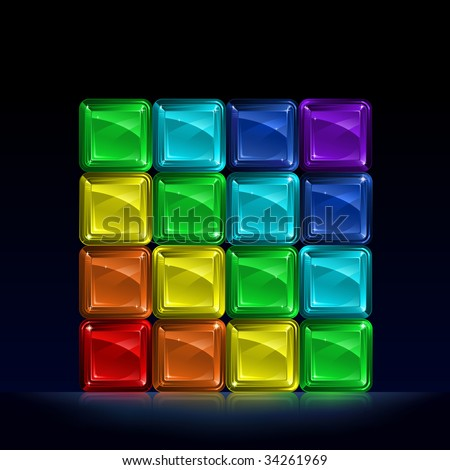 Group of colorful glass blocks forming a cube and representing seven colors of the spectrum (other images from this series are in my gallery)
