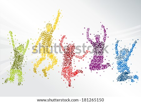 Group of colorful happy people jumping  - stock vector