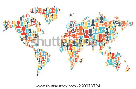 Group of colorful people silhouettes making a earth planet shape. Vector - stock vector