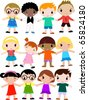 group of colorfully dressed, ethnically diverse children, - stock photo