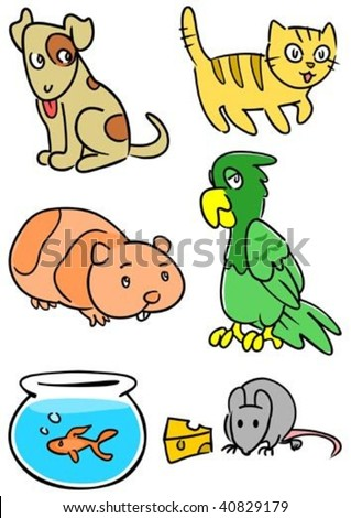 Group of common pets including dog, cat, hamster, parrot, fish and mouse. - stock vector