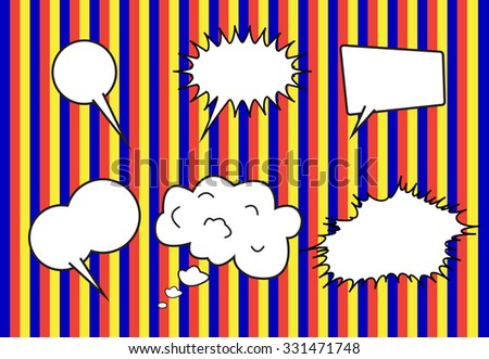 group of conversation bubbles on  stripe  backgrounds - stock vector