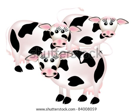 Group of cows, cartoon
