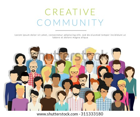 Group of creative people isolated on white. Flat modern design. Text outlined - stock vector
