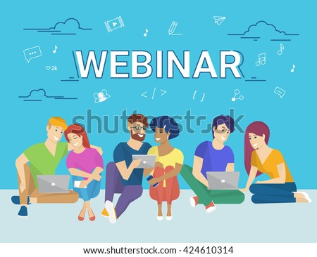 Group of creative people using laptop and tablet pc sitting on the floor and watching online webinar. Flat concept illustration of creative thinking and online webinar participating  - stock vector