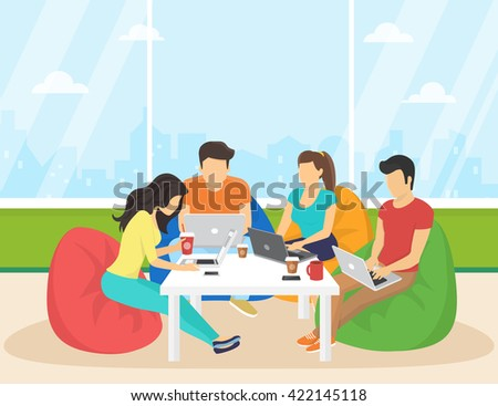 Group of creative people using smartphone and laptop sitting in the room working and talking each other. Flat concept illustration of creative thinking and working with modern electronic devices  - stock vector