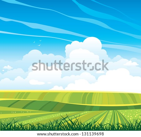 Group of cumulus clouds on the horizon and green flowering field on a blue sky background. Summer landscape. - stock vector