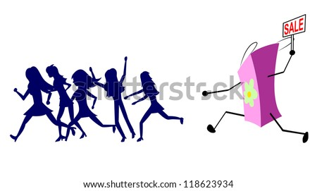 Group of customers running away from the shopping bag. A bag in the hands of a plate with an inscription sale