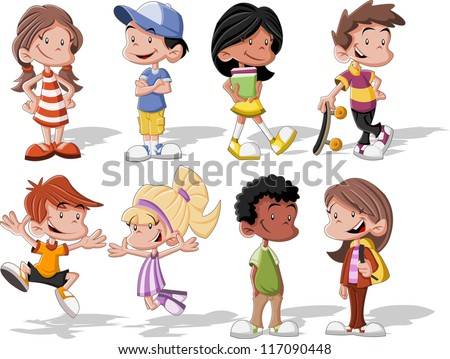 group of cute happy cartoon kids - Free Children Cartoon