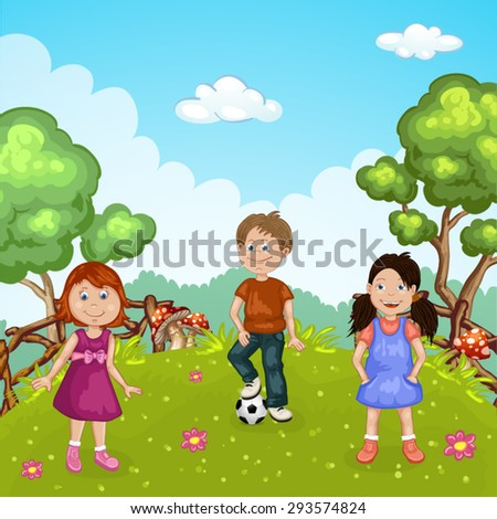 Group of cute happy cartoon kids playing in green park  - stock vector
