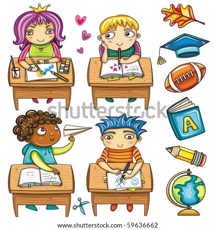 Group of cute, little schoolchildren, sitting at the desks and colorful icons - stock vector