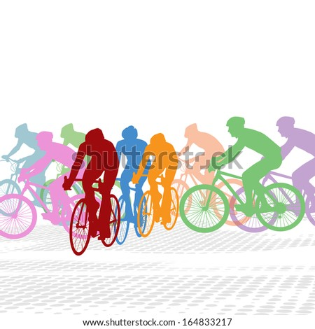 Group of cyclist in the bicycle race on white, vector illustration