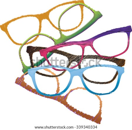 group of different frames for glasses - stock vector