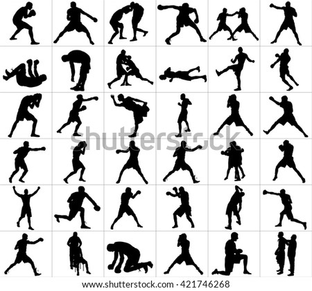 Group of different poses of boxer players vector silhouette isolated on white background. Direct kick. Clinch, knockout, hook...