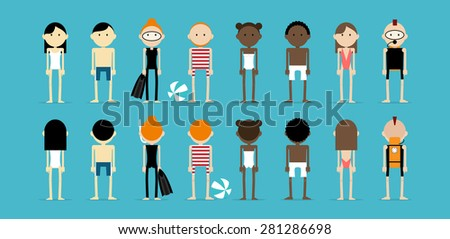 Group of different skin types of people standing in the swim wear. Caucasian, Asian and Afro american men and women viewed from the front and back. - stock vector