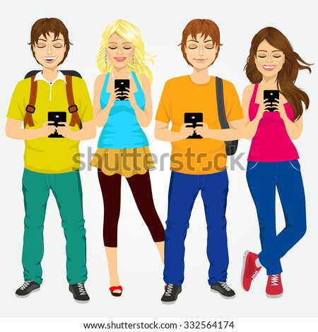 group of different young students using mobile phones socializing on internet - stock vector