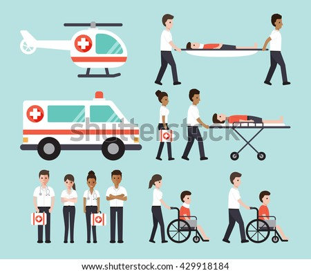Group of doctors, nurses, paramedics and medical staff people. Flat design people character set. - stock vector