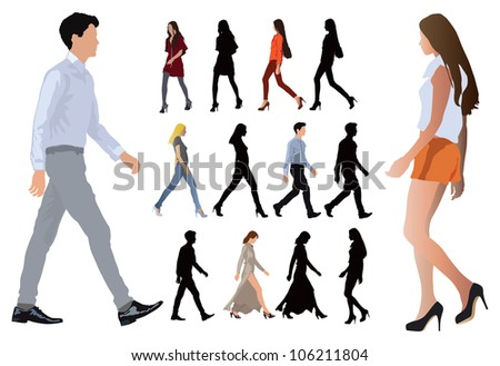 Group of elegant dressed in fashion clothes young people. Long legs and perfect body proportions. Vector color illustration on white. - stock vector