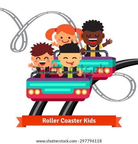 Group of excited, smiling and screaming kids riding roller coaster. Flat style vector cartoon illustration. - stock vector