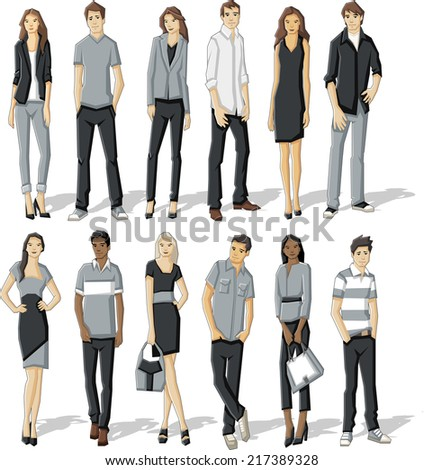 Group of fashion cartoon young business people. - stock vector