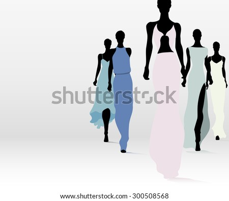 Group of fashion women walking on the runway - stock vector