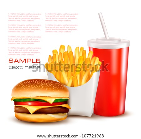 Group of fast food products. illustration. - stock vector
