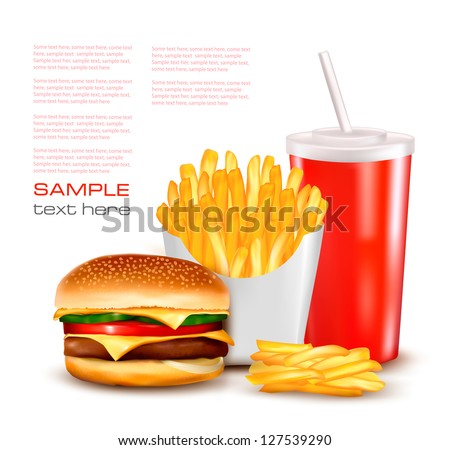 Group of fast food products. Vector illustration. - stock vector
