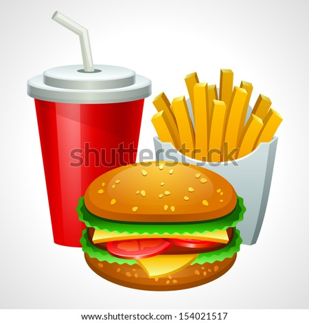Group of fast food products. Vector illustration. Eps 10