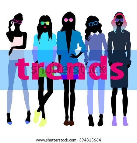 Group of female models dresses in fashion clothes - stock vector